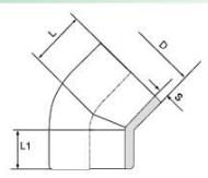 PVDF 对焊管件 45度弯头
